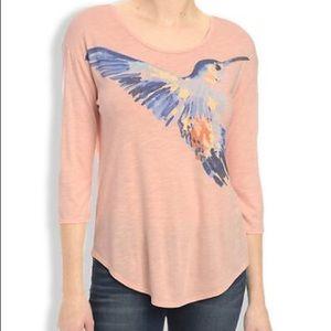 Lucky Brand pink artistic bird tee